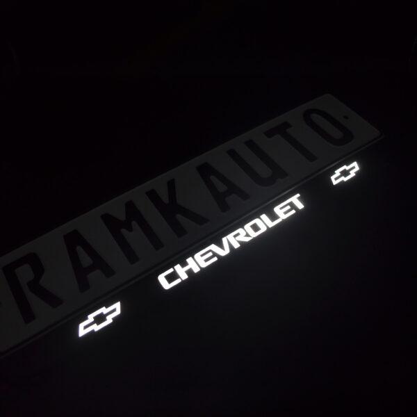 Рамка номера chevrolet с подсветкой надписи