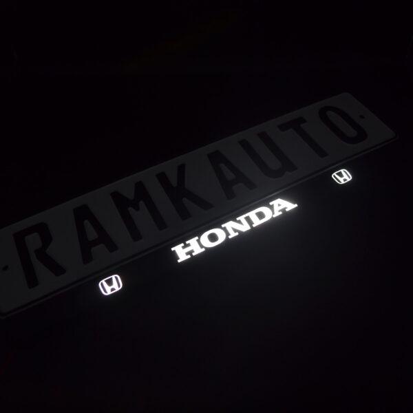 Рамка номера honda с подсветкой надписи