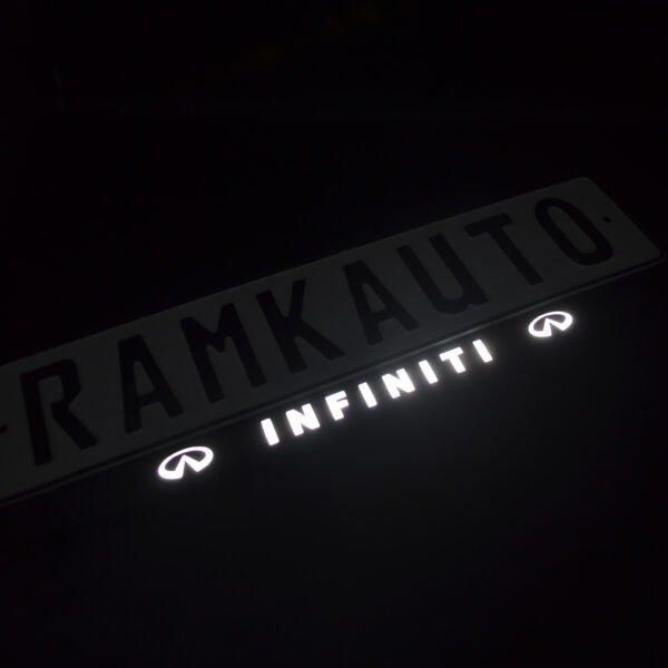 Рамка номера infiniti с подсветкой надписи