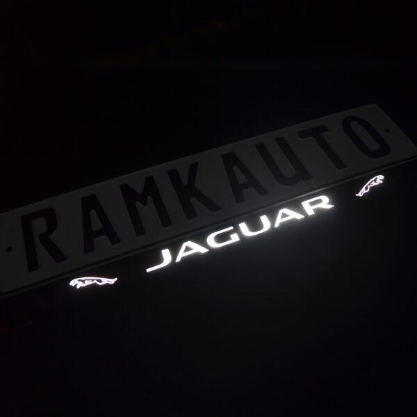 Рамка номера jaguar с подсветкой надписи