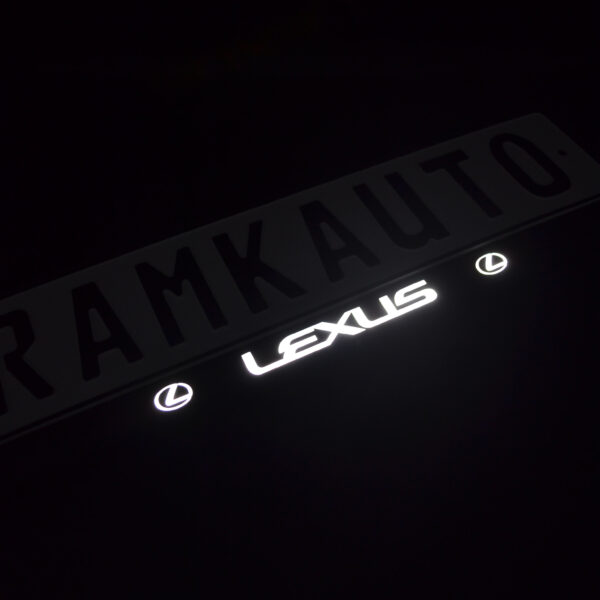 Рамка номера lexus с подсветкой надписи