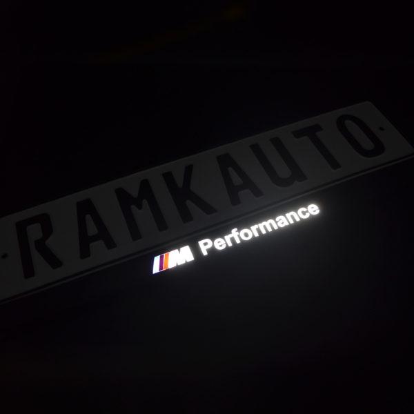 Рамка номера m performance с подсветкой надписи и лого
