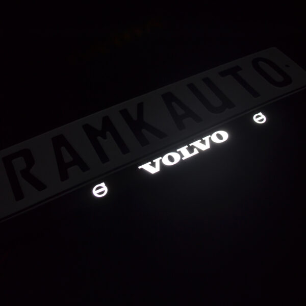 Рамка номера volvo с подсветкой надписи